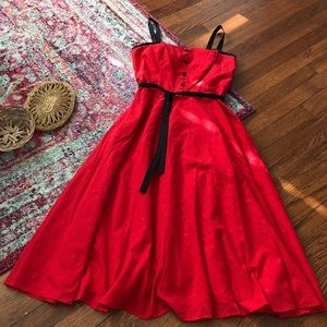 Stop staring red eyelet fit and flare swing dress